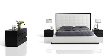 Modrest Beth Modern Wenge with White Leatherette Bed