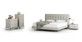 Modrest Hera Modern Grey Leatherette Bed