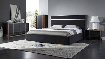 Nova Domus Cartier Modern Black & Rosegold Bedroom Set