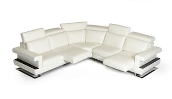 Estro Salotti Bolero Modern White Italian Leather Sectional Sofa