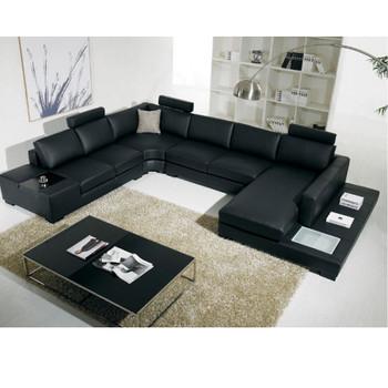 Divani Casa T35 - Modern Black Italian Leather Sectional Sofa with Light