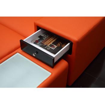 Divani Casa Polaris Mini - Orange Contemporary Bonded Leather Sectional Sofa