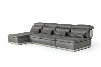 David Ferrari Panorama Italian Modern Grey Fabric & Grey Leather Sectional Sofa