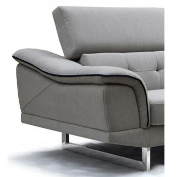 Divani Casa Gaviota Modern Grey Fabric Sectional Sofa