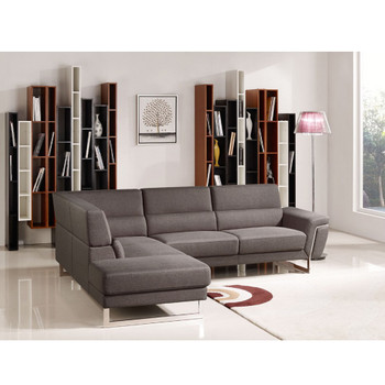 Divani Casa Navarro Modern Brown Fabric Sectional Sofa