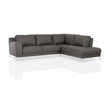Divani Casa Primrose Modern Grey Eco-Leather Sectional Sofa w/ Right Facing Chaise