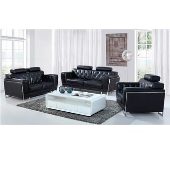 Divani Casa Huron Modern Black Leather Sofa Set