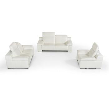 Estro Salotti Evergreen Modern White Leather Sofa Set