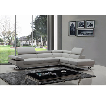 Divani Casa Quebec Modern Light Grey Eco-Leather Sectional Sofa