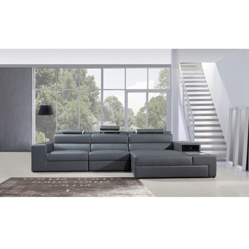 Divani Casa Polaris Mini - Grey Contemporary Bonded Leather Sectional Sofa
