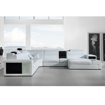 Divani Casa Polaris - White Contemporary Bonded Leather Sectional Sofa