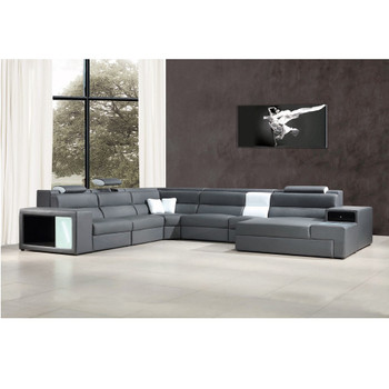 Divani Casa Polaris - Grey Contemporary Bonded Leather Sectional Sofa with Lights