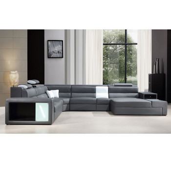 ... Divani Casa Polaris   Grey Contemporary Bonded Leather Sectional Sofa  With Lights