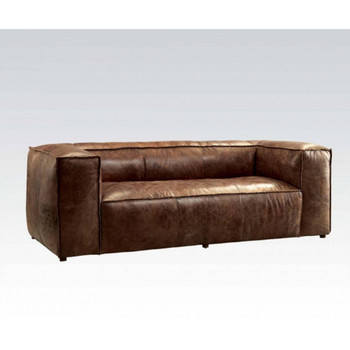 Brancaster Retro Brown Leather Sofa