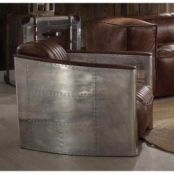 Brancaster Retro Brown Leather Accent Chair