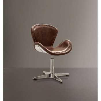 Brancaster Brown Leather Swivel Office Chair II
