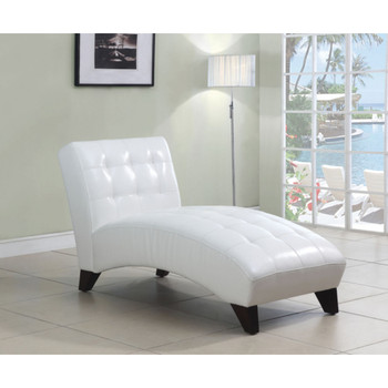 Anna White Leather Chaise