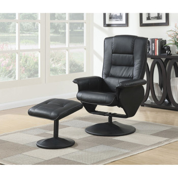 Arche Black Leather Recliner with Ottoman