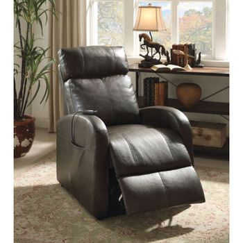 Ricardo Dark Gray Leather Recliner