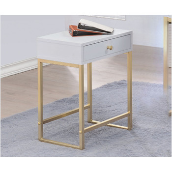 Coleen White & Brass Side Table