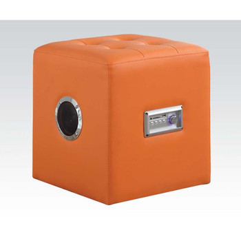 Laila Orange Leather Sound Ottoman