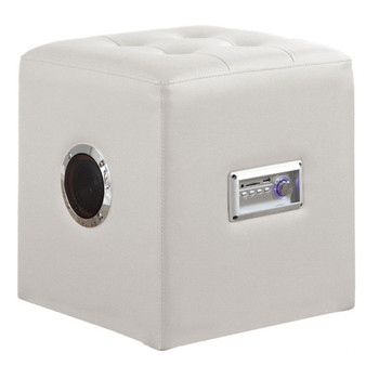 Laila White Leather Sound Ottoman