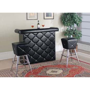 Hali Black & Chrome Bar Table Set