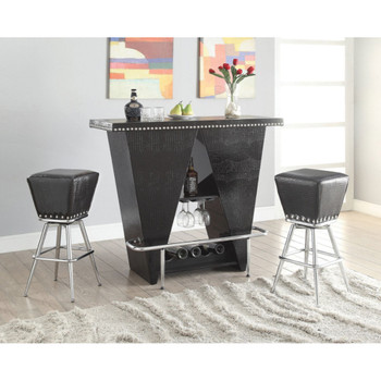 Patrick Black & Chrome Bar Table Set