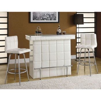 Ronni White & Chrome Bar Table Set