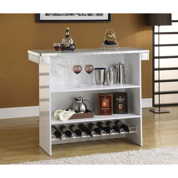 Ronni White & Chrome Bar Table