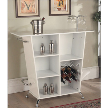 Tashara White & Chrome Bar Table