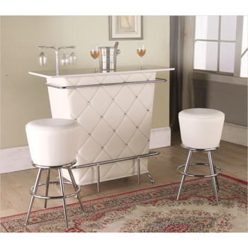 Tashara White & Chrome Swivel Bar Stool