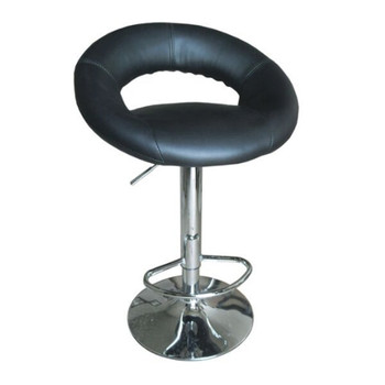 Yashvin Black & Chrome Swivel Bar Stool