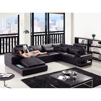 Divani Casa Diamond - Modern Black Bonded Leather Sectional Sofa