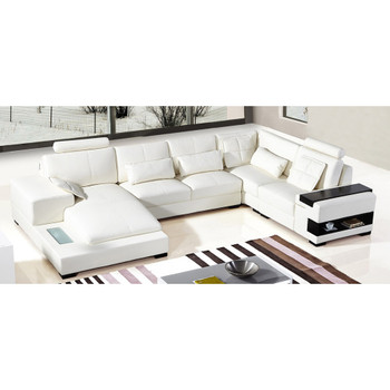 Divani Casa Diamond Modern Bonded White Leather Sectional Sofa