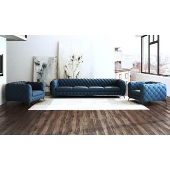 Divani Casa Delilah Modern Blue Sofa & Chair Set