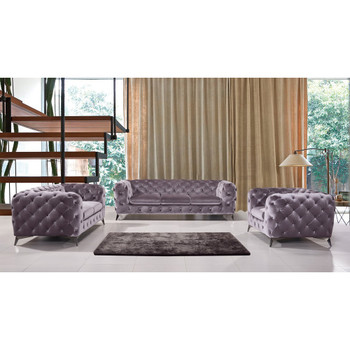 Divani Casa Delilah Modern Grey Fabric Sofa Set