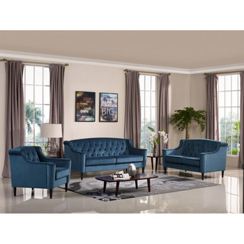 Divani Casa Carly Transitional Blue Velour Sofa Set
