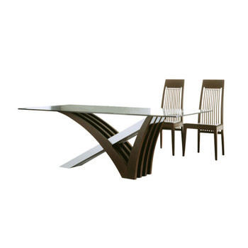 Mirage Wenge Clear Glass Dining Table