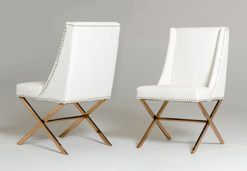 Modrest Alexia Modern White & Rosegold Dining Chair
