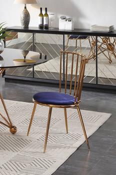Brenna - Modern Blue & Gold Dining Chair (Set of 2)