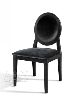 A&X Alice - Transitional Black Laquer Fabric Side Chair (Set of 2)
