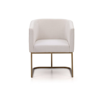 Modrest Yukon Modern White Fabric and Antique Brass Dining Chair