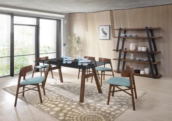 Modrest Travis Modern Blue & Walnut Dining Chair (Set of 2)