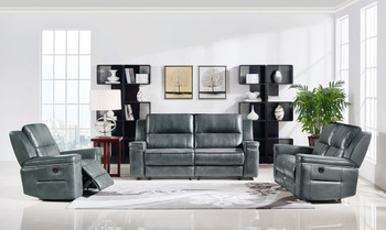 Divani Casa Hearst Modern Dark Grey Leatherette Sofa Set w/ Recliners