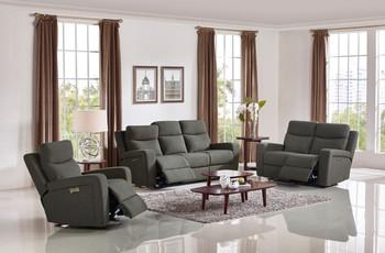 Divani Casa Shaw Modern Grey Fabric Sofa Set w/ Recliners