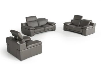 Estro Salotti Evergreen Modern Dark Grey Italian Leather Sofa Set