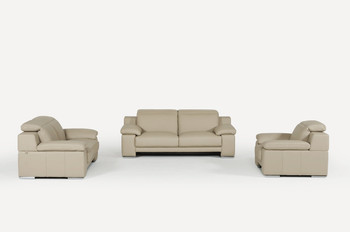Estro Salotti Evergreen Italian Modern Taupe Leather Sofa Set