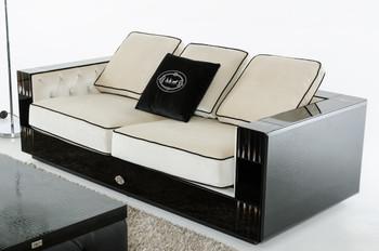 A&X Bellagio Transitional Black Crocodile and Beige Fabric Sofa