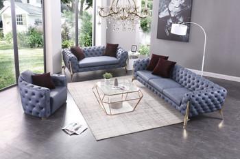 Divani Casa Catania Transitional Blue Leatherette Sofa Set